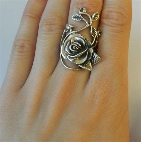 rose ring tattoo 925 heavy sterling silver and leaf by 911vintageaddiction