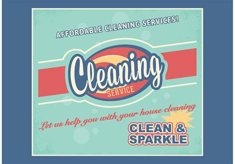 Free Retro Cleaning Service Advertisement Vector