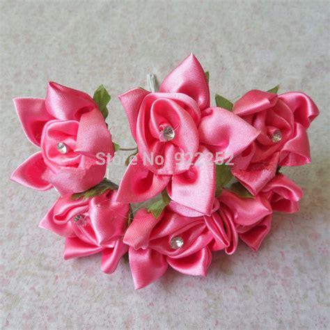 T Flowers Bunga Satin 3 4cm satin ribbon artificial roses diy craft silk flower