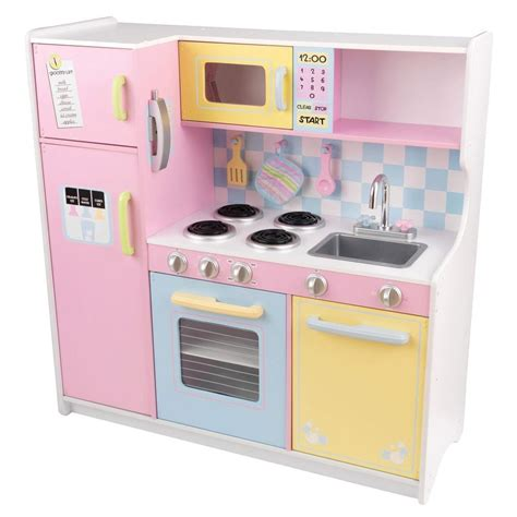 pastel kitchen kidkraft large pastel kitchen playset 53181 the home depot