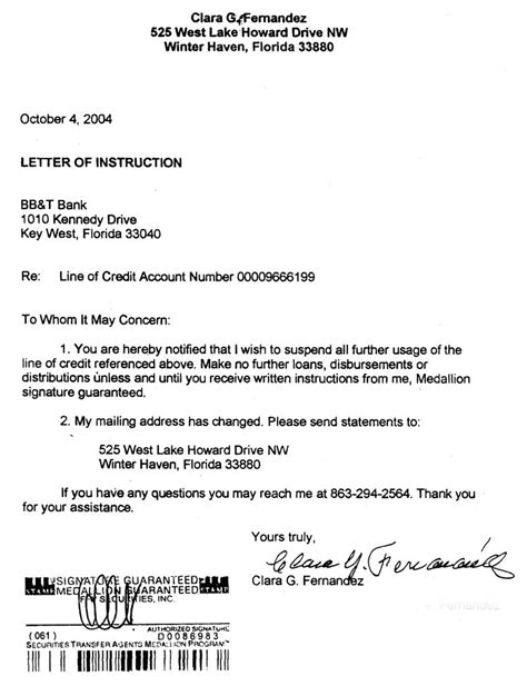 Letter Of Credit Signature Guarantee Clara G Fernandez Clara S Medallion Signature Guarantee Request Wtih Bb T Bank On October 4 2004