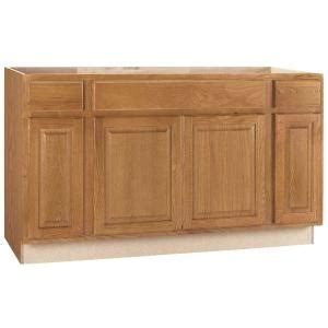 home depot kitchen sink cabinet hton bay hton assembled 60x34 5x24 in sink base kitchen cabinet in medium oak ksb60 mo