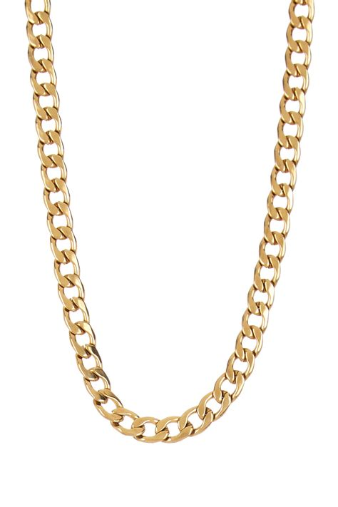 stephen oliver 18k gold plated cuban link chain necklace