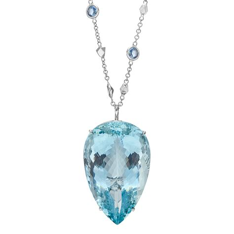 paolo costagli large aquamarine pendant on gem set