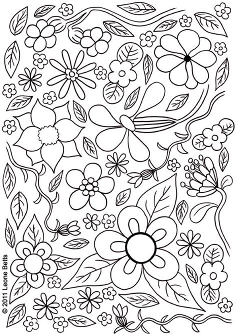 free printable kids colouring summer flowers leone