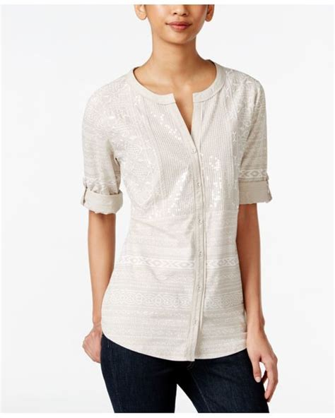Macy S White Button Blouse by Style Co Sequined Button Shirt Only At