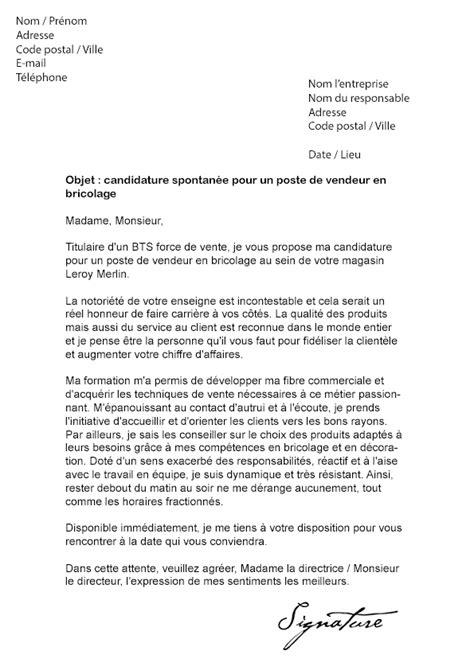 lettre de motivation leroy merlin vendeur en bricolage