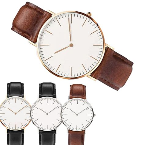 new s fashion leather band analog quartz
