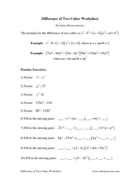 Sum And Difference Of Cubes Worksheet by Difference Of Cubes Worksheet Free Worksheets Library