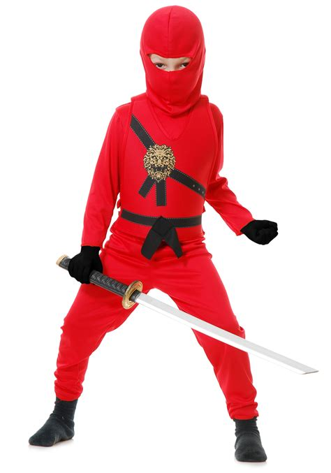 film ninja red child red ninja master costume