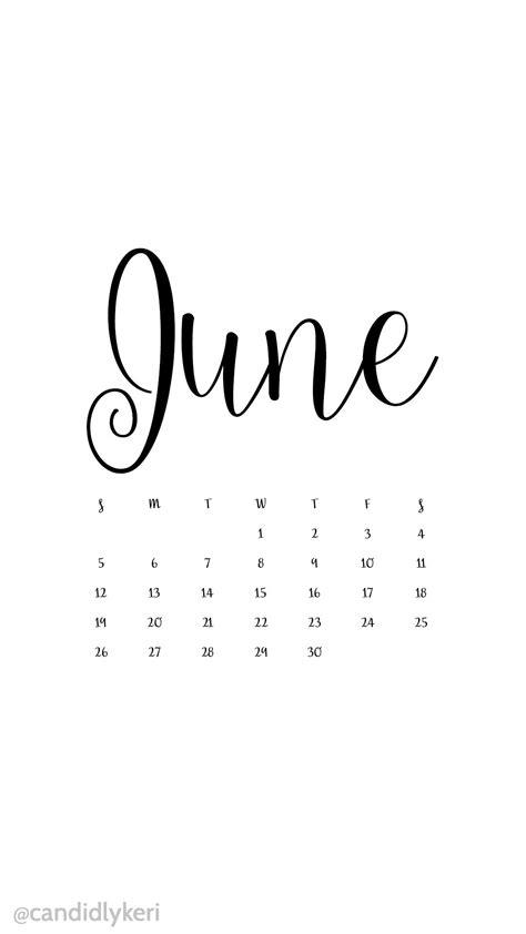 white  black script june  calendar wallpaper