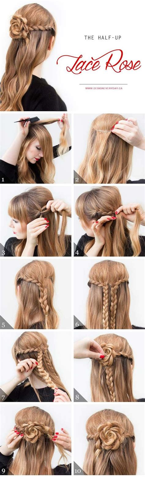 diy hairstyles quick and easy cool and easy diy hairstyles the half up lace rose