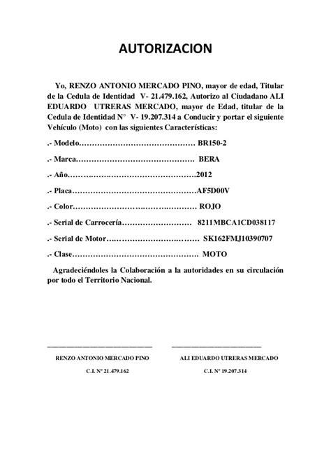 carta de autorizacion para utilizar vehiculo autorizacion moto 23