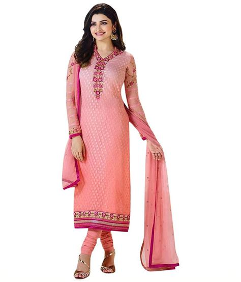 Uttam Vastra Dress Materials | uttam vastra pink brasso straight semi stitched dress