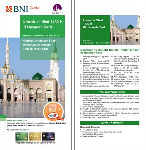 Hasanah Card By Kartu Kredit Bni kartu kredit murah dan bebas bunga promo umroh i tikaf