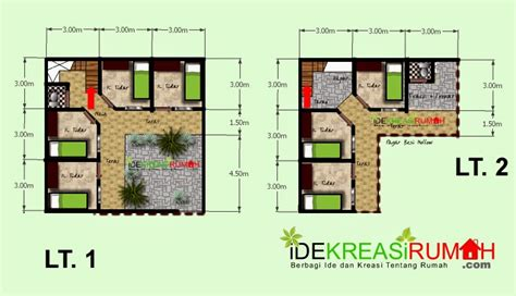 desain layout denah kos kosan 2 lantai pada lahan yang kecil ide kreasi rumah