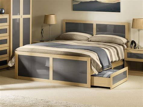 happy beds strada bed light oak grey wood drawer