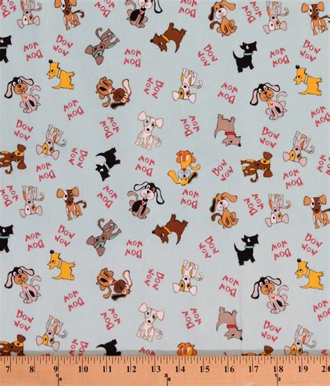 Flanel Wow flannel dogs puppies puppy on blue animal words bow wow flannel by the yard f2951blue