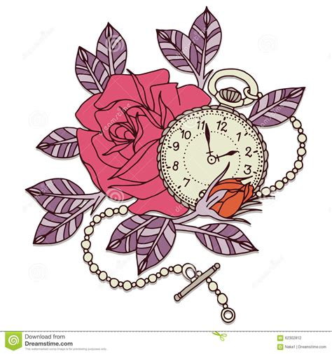 rose clock tattoo design stock illustration image 62302812