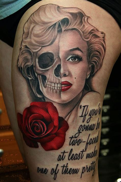 two face tattoos awesome two faced marilyn with on left