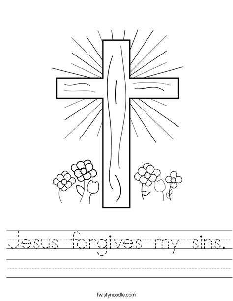 Jesus Worksheets For by Jesus Forgives My Sins Worksheet Twisty Noodle