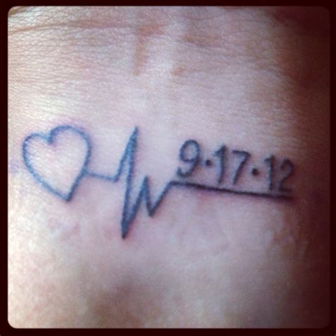Last Heartbeat Tattoo | memorial tattoo my dad s last heartbeat and date he