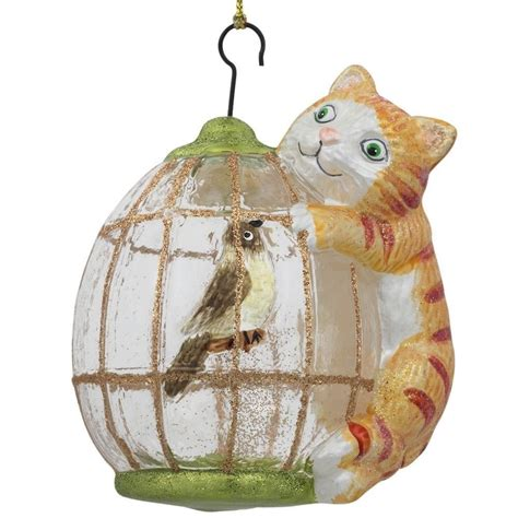4 quot cat on bird cage glass christmas ornament ebay