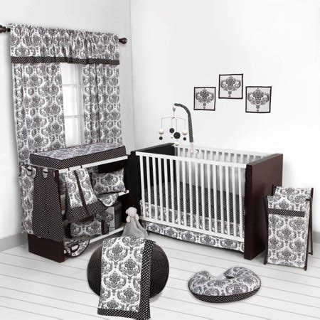 nursery in a bag crib bedding set bacati classic damask white black 10 nursery in a bag pc crib set 100 cotton percale