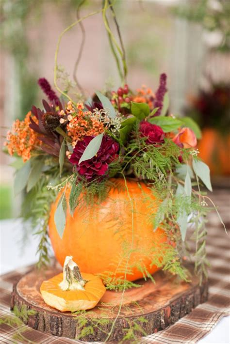 Elegant Pumpkin Wedding Decor Ideas Pumpkin With Flowers Centerpieces