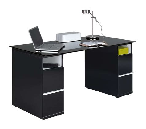 Office Desk Black Room4 Black Glass Desk With 2 Cupboards