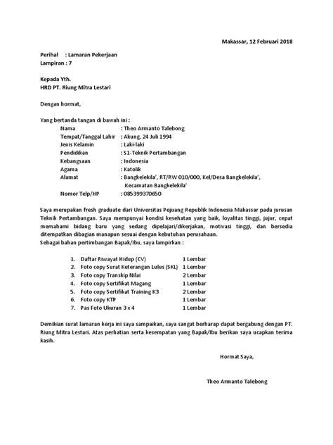 Contoh Surat Lamaran Kerja Di Perusahaan Tambang - Bagi
