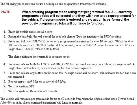 dodge key fob programming how do i program a new remote key for my 2005 ram 1500
