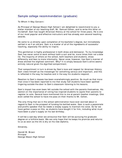 Recommendation Letter Master Degree Recommendation Letter For Masters Program Letter Of Recommendation