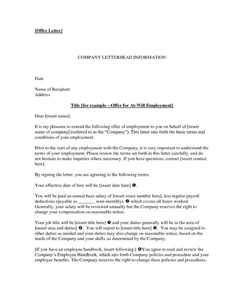 Offer Letter For Employment offer of employment letter crna cover letter