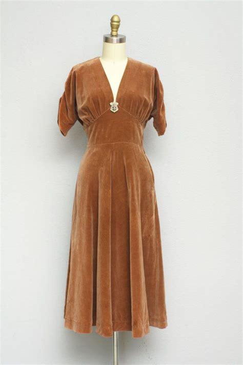 taffy colored velvet dress 1930s 1930s