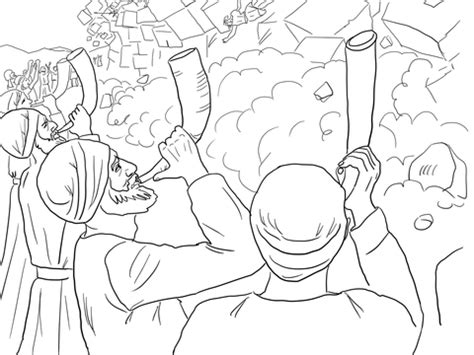walls of jericho falling coloring page free printable