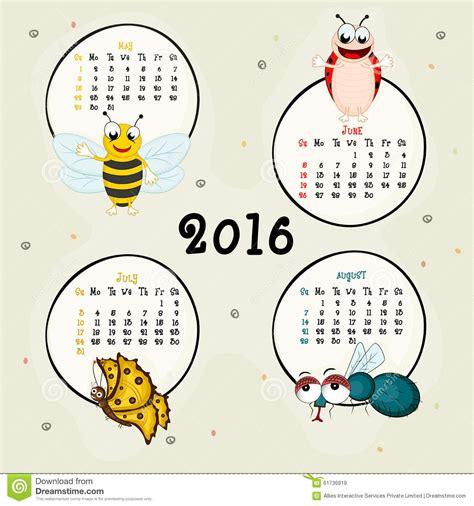 Calendrier 2016 Avec Numéro De Semaine Et Vacances Calendrier De Quatre Mois De 2016 Photo Stock Image