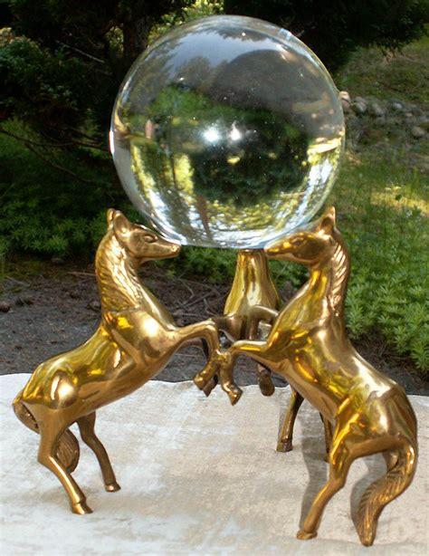 crystal gazing ball  brass horse base crystal ball