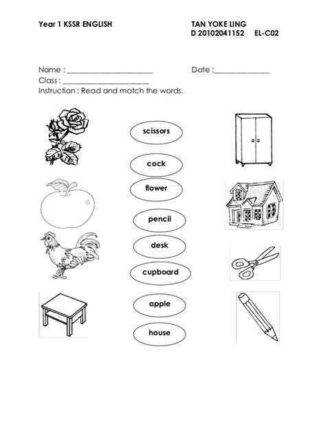 free printable worksheets english year 1 revision exercise year 1 english