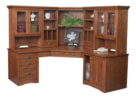 Amish Large Corner Computer Desk Hutch Bookcase Home Corner Hutch Desk