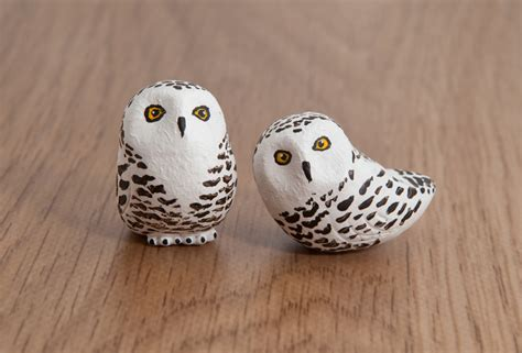 Handmade Owl - snowy owl totems handmade in polymer clay by