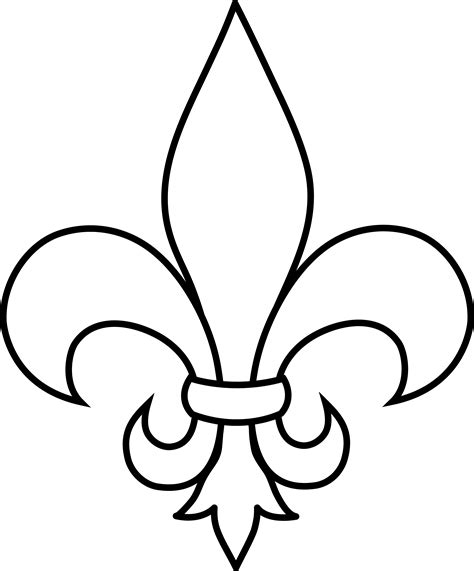 black and white fleur de lis outline free clip art