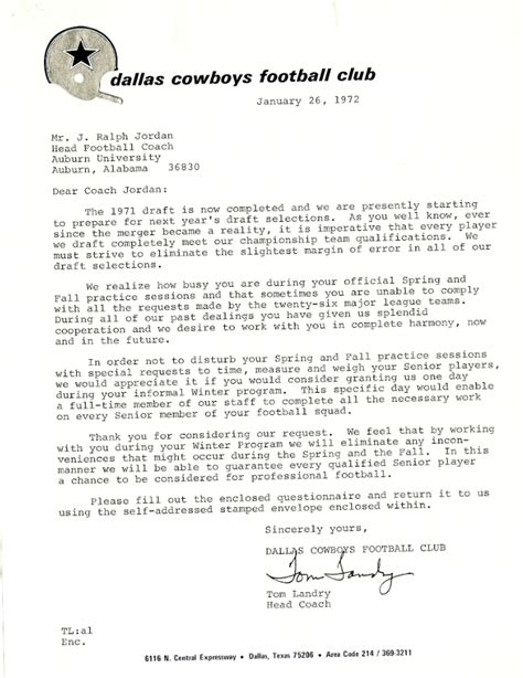draft cover letter tom landry s letter to shug about the 1972 nfl draft