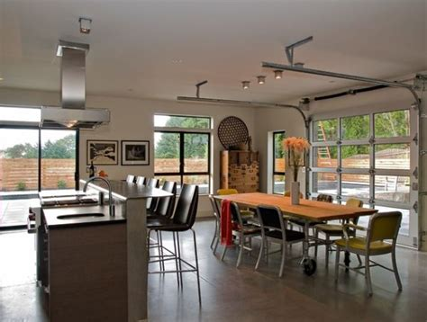 Garage Kitchen by Sectional Glass Garage Doors Used In Modern Designs