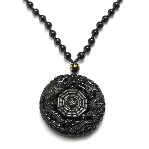 black chain with pendant black obsidian lucky pendant chi necklace chain for
