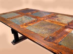 Dining Room Sets North Carolina Rustic Dining Table In Barnwood And Stone Tile Custom By
