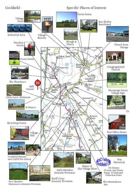 places of interest in map places of interest cockfield suffolk