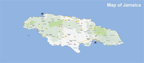 map usa and jamaica jamaika physik karte