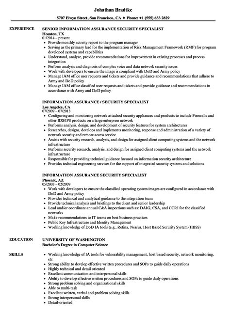 information assurance security specialist resume sles