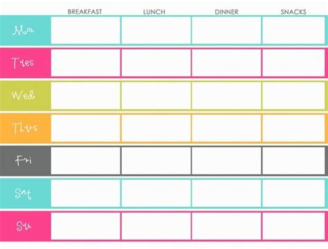 weekly menu planning template color colorful breakfast